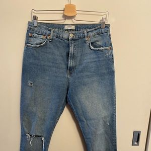 Zara Mid-Rise Boyfriend Distressed Jeans